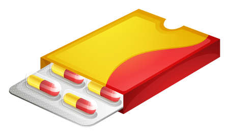 Illustration of a pack of capsules on a white background