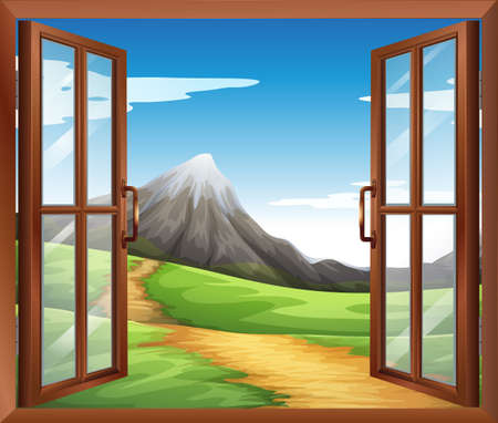 opened eye:  Illustration of an open window across the mountain
