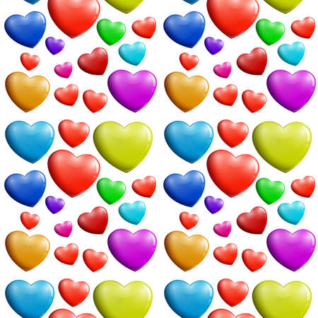 Illustration of a seamless colorful heart pattern on a white background Vector