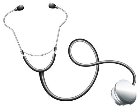 auscultation: Illustration of a doctors stethoscope on a white background