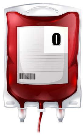 globulo rojo: Ilustraci�n de una bolsa de sangre con sangre tipo O en un fondo blanco