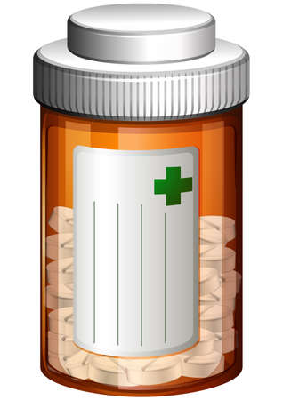 doses: Illustration of a medical container with tablets on a white background