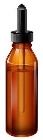 prescribed: Illustration of a light brown medical bottle with a dropper on a white background