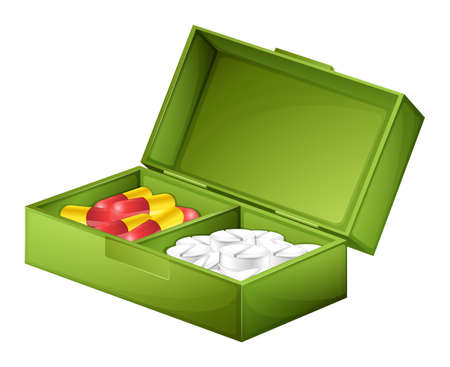 Illustration of a medicine box with tablets and capsules on a white background Vector