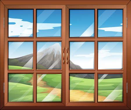 overlooking:  Illustration showing a window Illustration