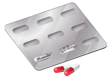 Illustration of the capsules outside the packaging on a white background Vector