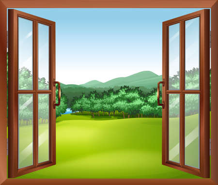 Illustration of a window with a good view of the beautiful gift of nature Illustration