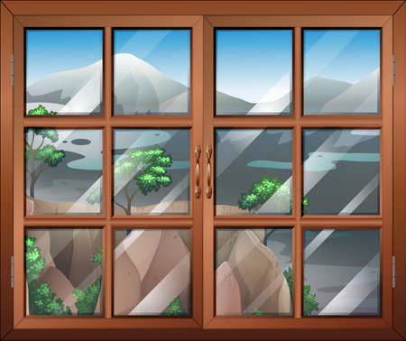 opened eye: Illustration of a closed window near the cliff