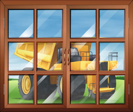 wall mounted: Illustration of a window near the yellow vehicle