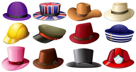 hard rain: Illustration of the different hat designs on a white background