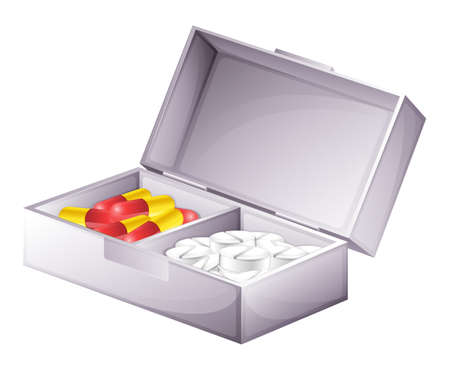 Illustration of a medicine kit with capsules and tablets on a white background Vector