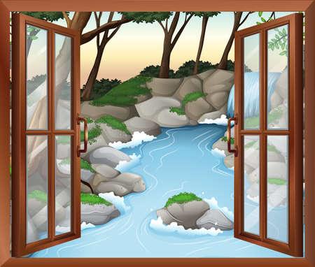 wall mounted: Illustration of a window near the waterfalls