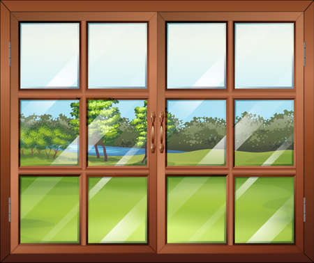 opened eye: Illustration of a closed wooden window with glass