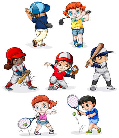 Illustration of a group of people engaging in different sports on a white background Vector