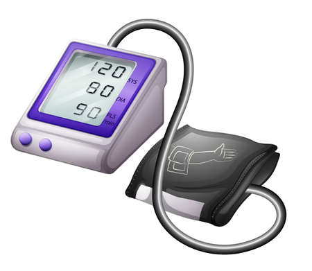 blood pressure gauge: Illustration of a sphygmomanometer on a white background