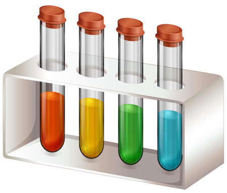 assays: Illustration of the test tubes with chemicals on a white background Illustration