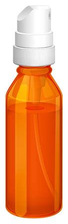 Illustration of an orange spray bottle on a white background