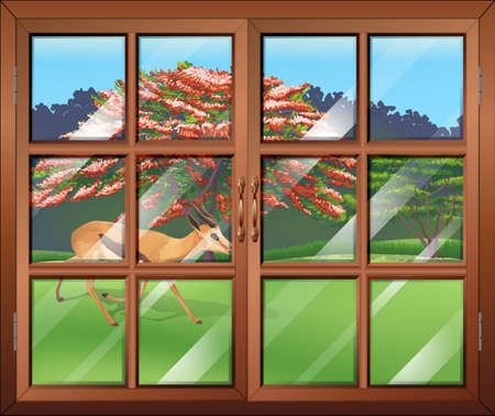 opened eye: Illustration of a closed window with a deer outside