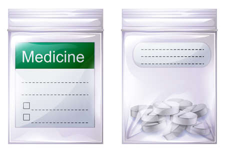 Illustration of a sealed medicine pouch on a white background