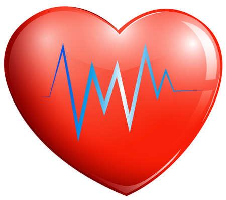 myocardium: Illustrazione di un cuore rosso su sfondo bianco Vettoriali