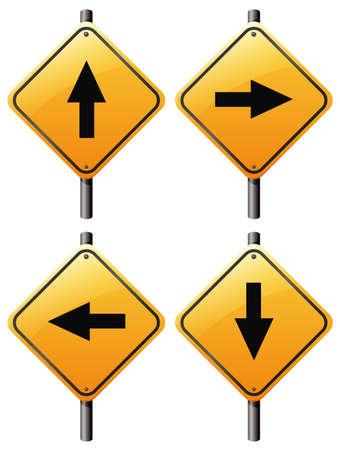 flecha derecha: Ilustración de los cuatro signos de flecha sobre un fondo blanco