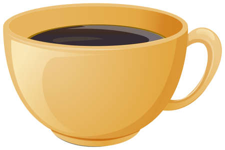 brewed: Illustration of a cup of brewed coffee on a white background