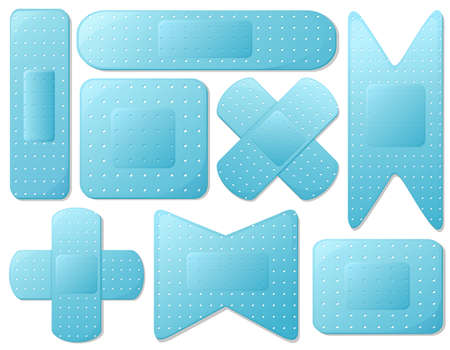 Illustration of the blue plasters on a white background