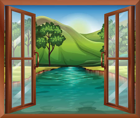 opened eye: Illustration of a window near the flowing river