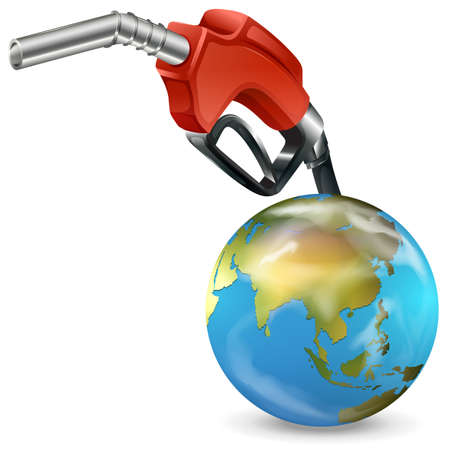 Illustration of a red petrol pump and a globe on a white background Vector