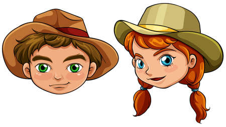 Illustration of the faces of a boy and a girl on a white background