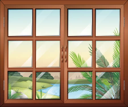 opened eye: Illustration of a closed window near the pond Illustration