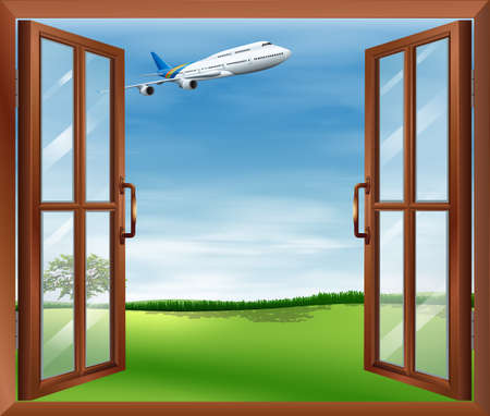 opened eye: Illustration of an open window with a view of the plane