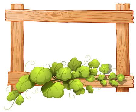 Ilustración de un marco de madera con una planta de hojas sobre un fondo blanco Foto de archivo - 26451129