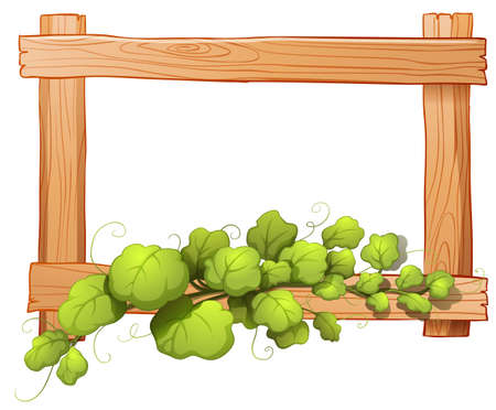 Illustration of a wooden frame with a leafy plant on a white background