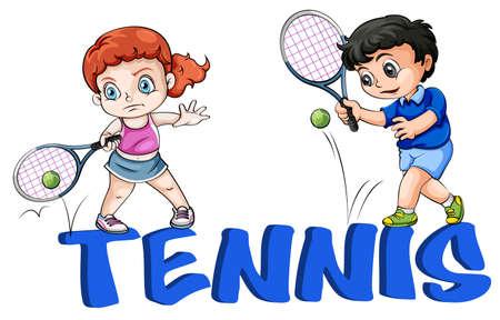 jugando tenis: Ilustración de una niña y un niño jugando al tenis en un fondo blanco