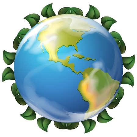 globe terrestre dessin: Illustration d'un globe entour� de feuilles sur un fond blanc