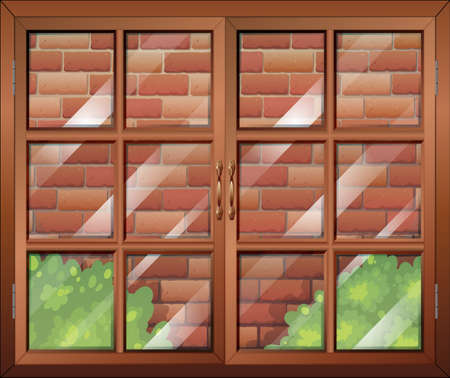 opened eye: Illustration of a closed window and a stonewall Illustration