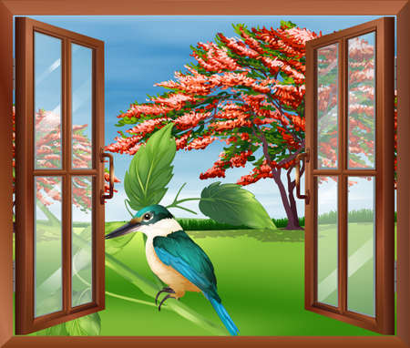 Illustration of a window with a view of the bird Vector