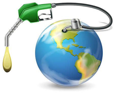 Illustration of a petrol pump and a globe on a white background Vector
