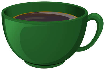 Illustration of a green cup with coffee on a white background Illustration