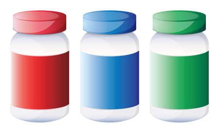prescribed: Illustration of the colorful medical bottles on a white background Illustration