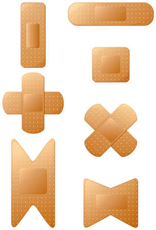 friction: Illustration of the plasters for first-aid on a white background