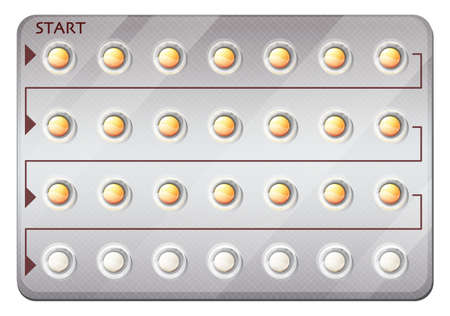 placebo: Illustration of a pack of birth control pills on a white background
