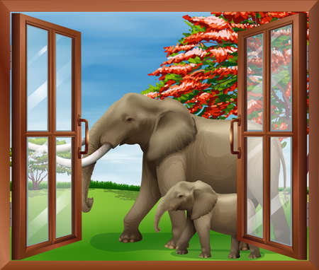opened eye: Illustration of a window with a view of the big and small elephants