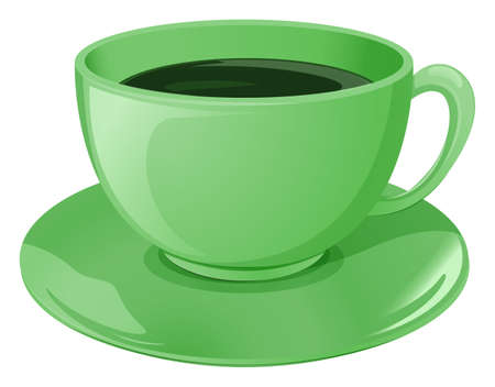 Illustration of a neon-colored cup and saucer with coffee on a white background Vector
