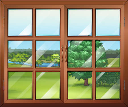 opened eye: Illustration of a closed window with light reflections