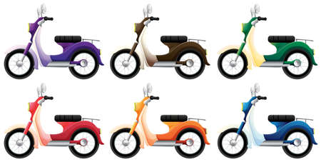 motorised: Illustration of the colorful scooters on a white background