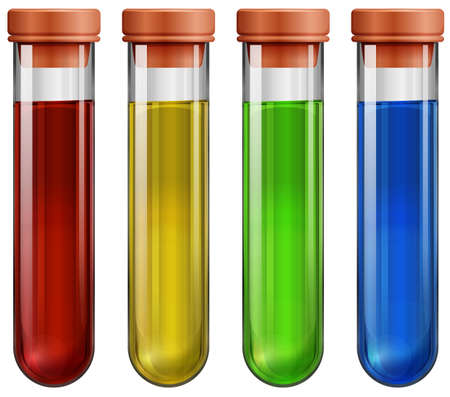 Illustration of the test tubes with chemicals on a white background Vector
