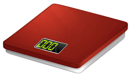 bathroom scale: Illustration of a red bathroom scale on a white background Illustration