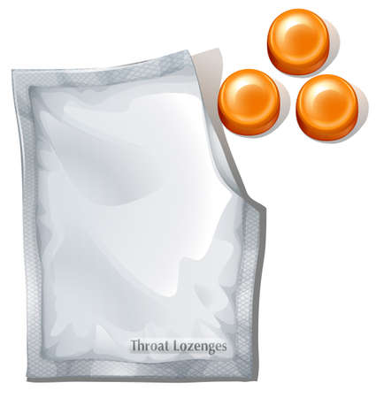 dissolved: Illustration of the throat lozenges on a white background